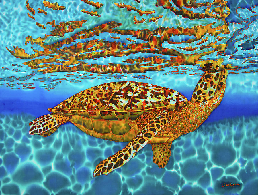 Abstract Painting - Caribbean Hawksbill Sea Turtle by Daniel Jean-Baptiste