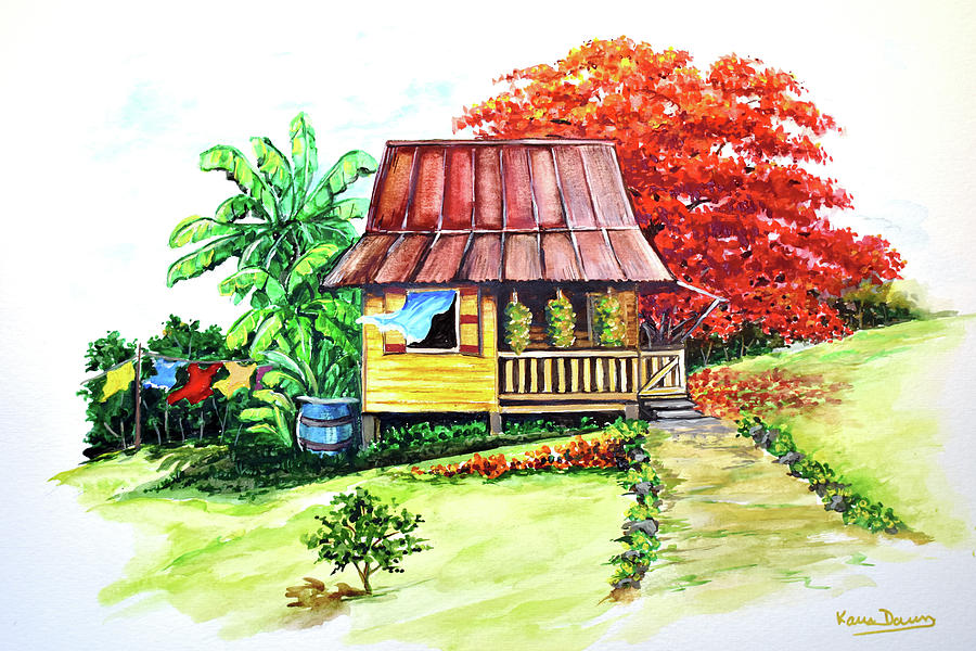 Old House Painting - Caribbean House On The Hill by Karin  Dawn Kelshall- Best