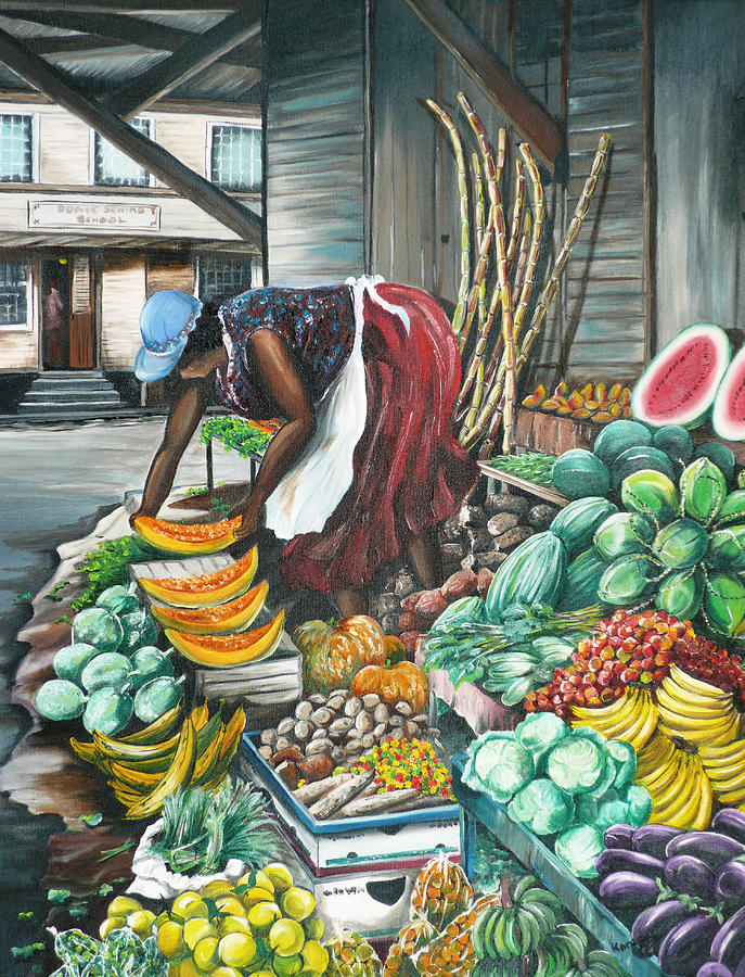 Caribbean Market Day Painting By Karin Dawn Kelshall Best