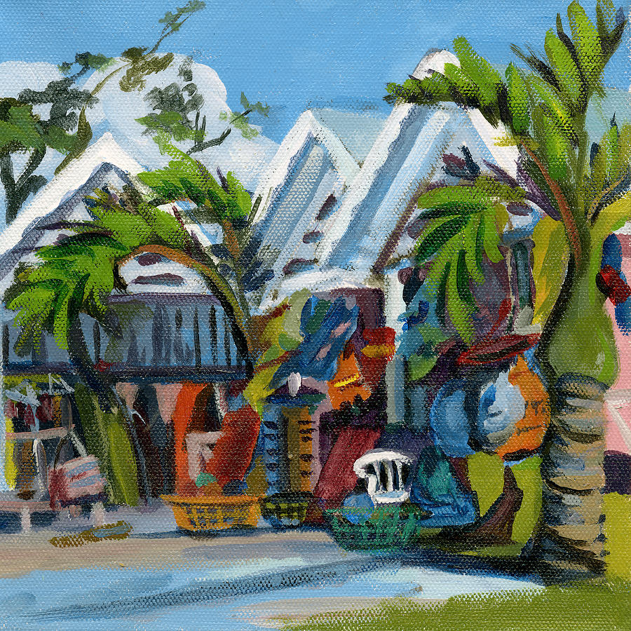 St Lucia Painting - Caribbean Outdoor Market by J R Baldini