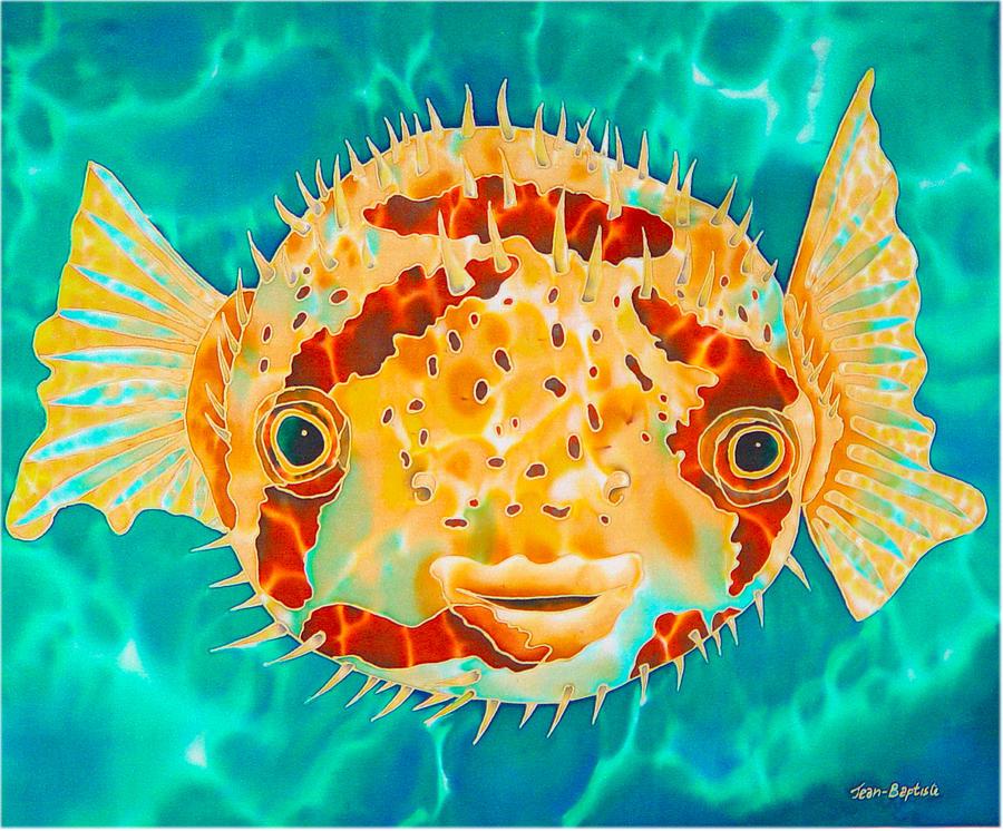 Puffer Fish Painting - Caribbean Puffer by Daniel Jean-Baptiste