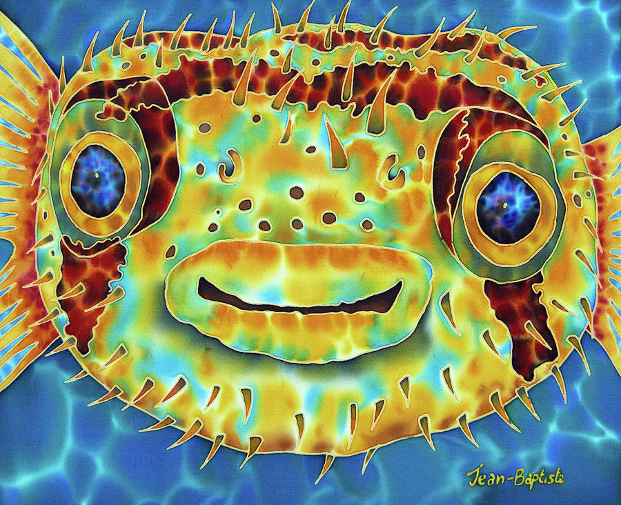 Abstract Painting - Caribbean PufferFish by Daniel Jean-Baptiste