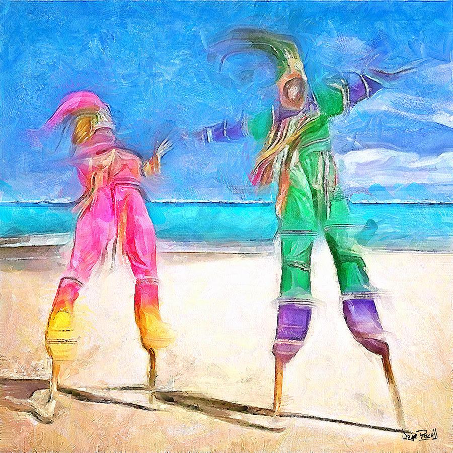 Moko Jumbie Painting - Caribbean Scenes - Moko Jumbie by Wayne Pascall