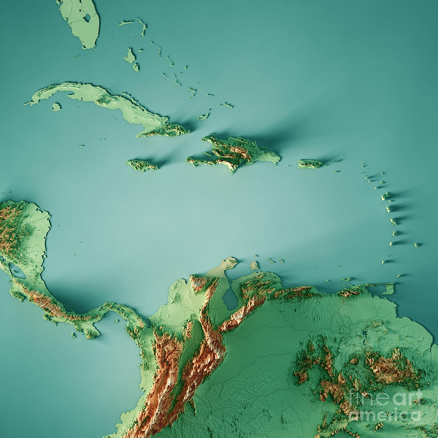 Caribbean Sea 3d Render Topographic Map Color Digital Art by Frank ...