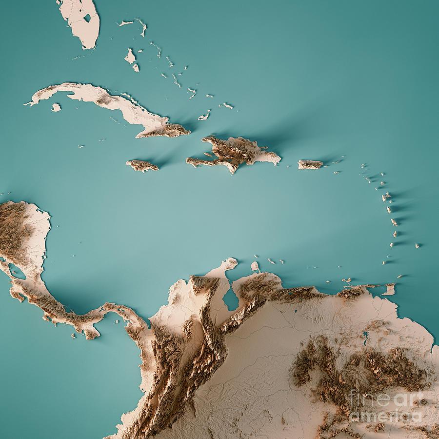 Caribbean Sea Digital Art - Caribbean Sea 3D Render Topographic Map Neutral by Frank Ramspott