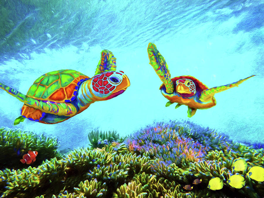 Caribbean Sea Turtle and Reef Fish by Sandra Selle Rodriguez
