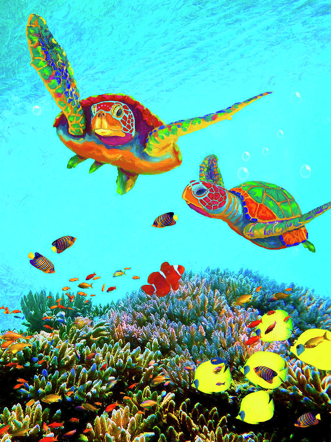 Caribbean Sea Turtles  by Sandra Selle Rodriguez