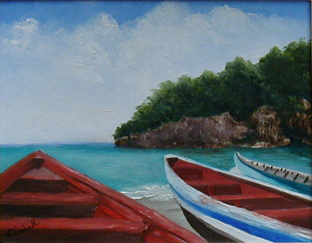 Seascape Painting - Caribbean Vessels by Betty Treadwell