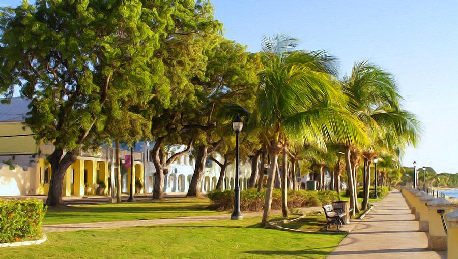 Caribbean Painting - Caribbean Waterfront by Linda Morland