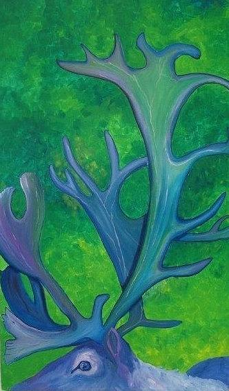 Caribou Painting - Cariblue by Amy Reisland-Speer