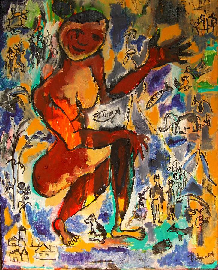 Woman Painting - Caring by Padma Prasad