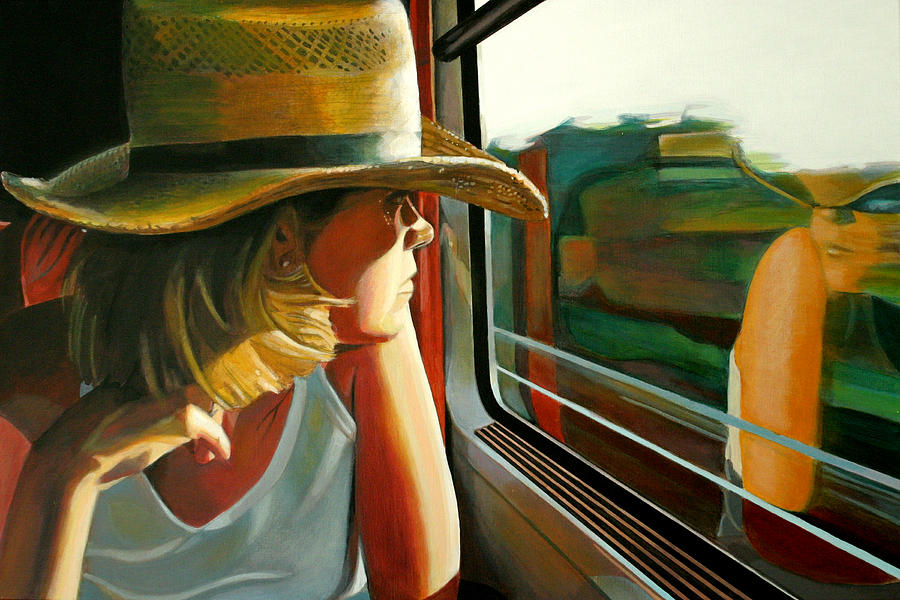 Girl Painting - Carla traveling by Jose Roldan Rendon