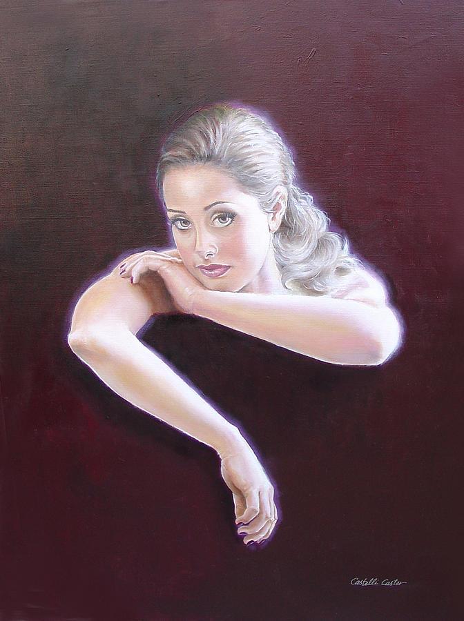 Portrait Painting - Carlee by JoAnne Castelli-Castor