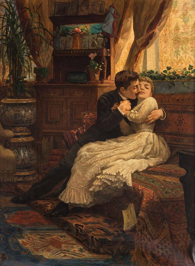 Girl Painting - CARLO STRATTA ITALIAN 1852-1936 Couple in the Drawing Room, 1890 by Carlo Stratta