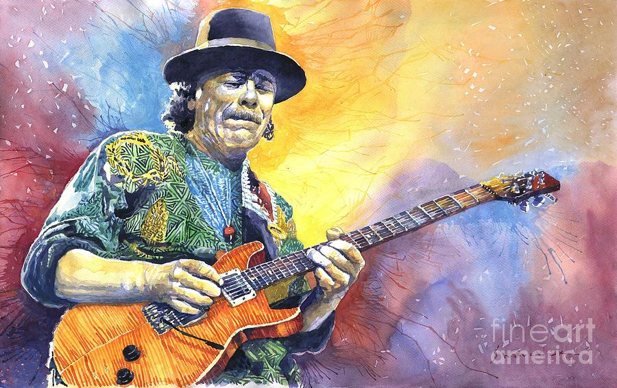 Watercolor Painting - Carlos Santana by Yuriy Shevchuk
