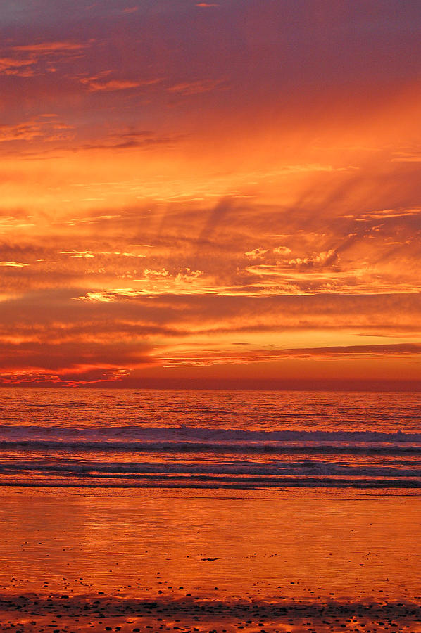 Sunset Photograph - Carlsbad Beach by Jean Booth