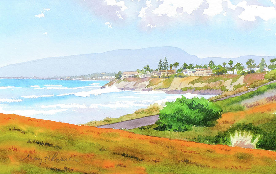 Route 101 Painting - Carlsbad RT. 101 Sunny Day by Mary Helmreich