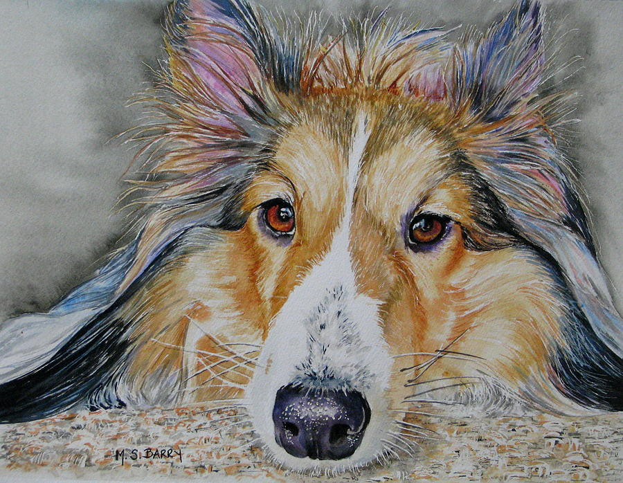 Dog Painting - Carly by Maria Barry