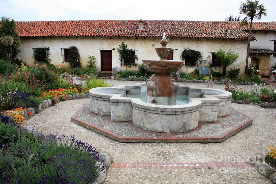 Catholic Photograph - Carmel Mission Courtyard by Carol Groenen