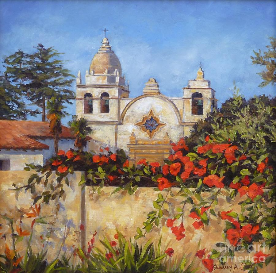 Carmel By The Sea Painting - Carmel Mission by Shelley Cost
