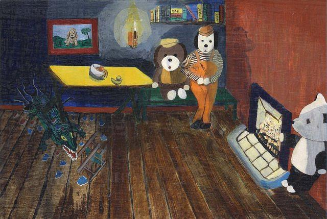 Toy Bears Painting - Carmel The Croc Breaks Into The Three Bears House. by Frank Maguire