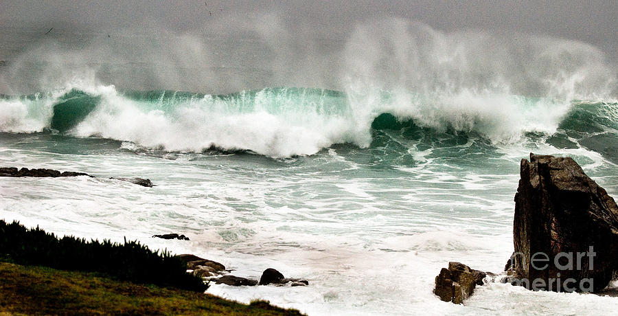 Seascapes Photograph - Carmel Wave Rock by Norman Andrus