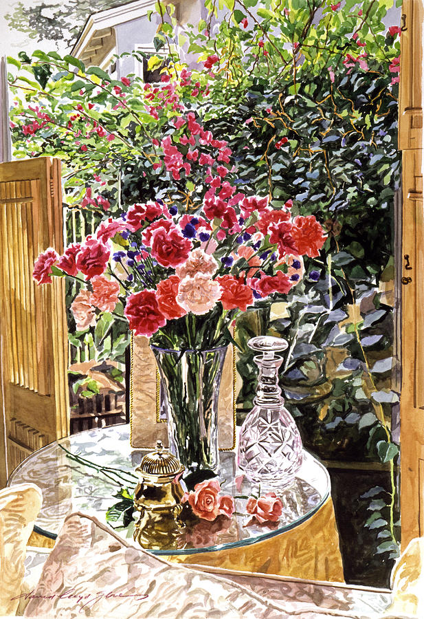 Still Life Painting - Carnations In The Window by David Lloyd Glover