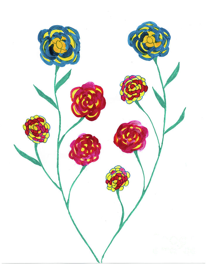 Blue Mixed Media - Carnations by Mary Mikawoz