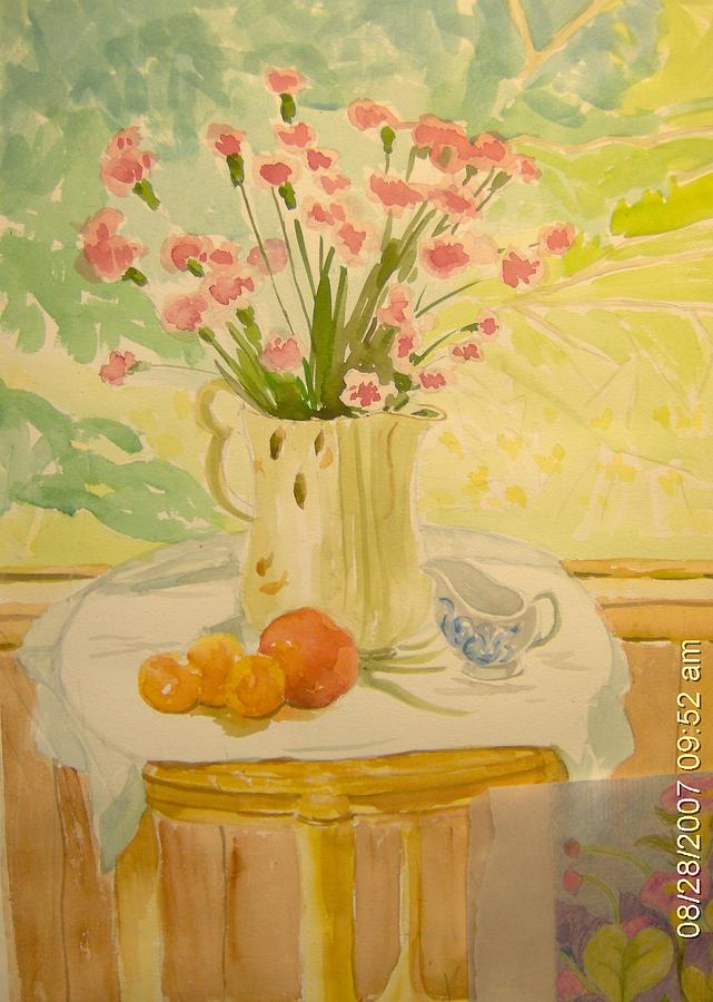 Still Life Painting - Carnations With Still Life by Jeanette Salzburg