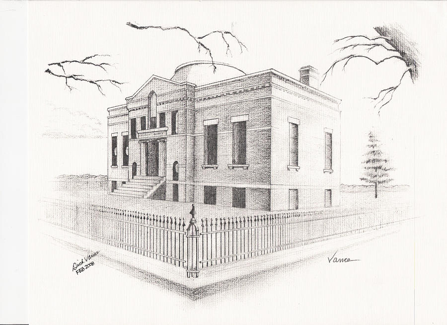 Architecture Painting - Carnegie Library Mitchell South Dakota by Buffalo Dick Vance