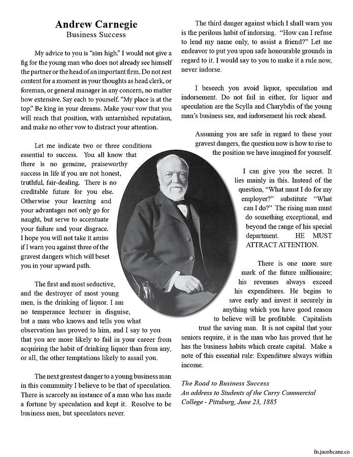 Andrew Carnegie Photograph - Carnegie- The Road To Business Success by Jacob Cane