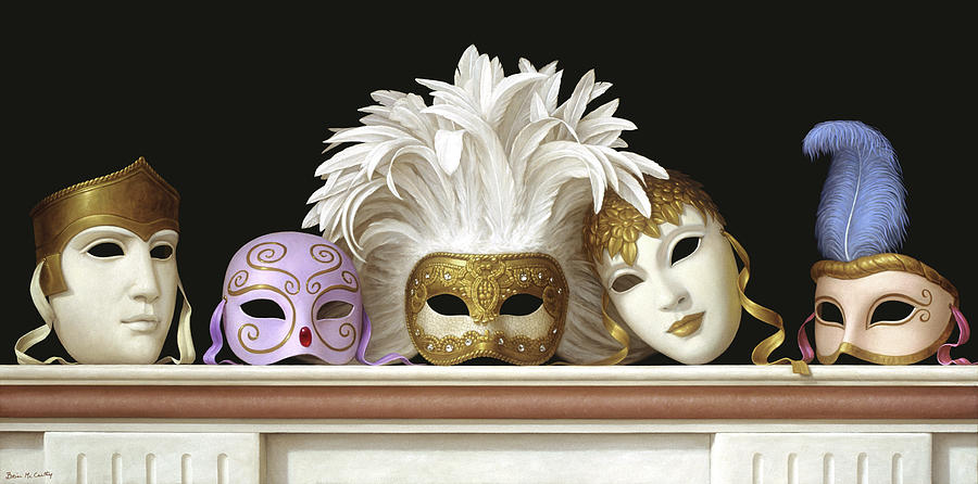 Still Life Painting - Venetian Carnival Mask Collection #2 by Brian McCarthy