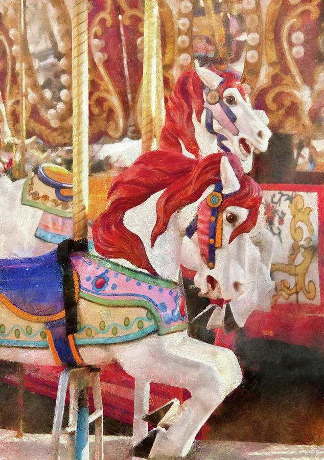 Carnival - Carousel Horses Photograph by Mike Savad