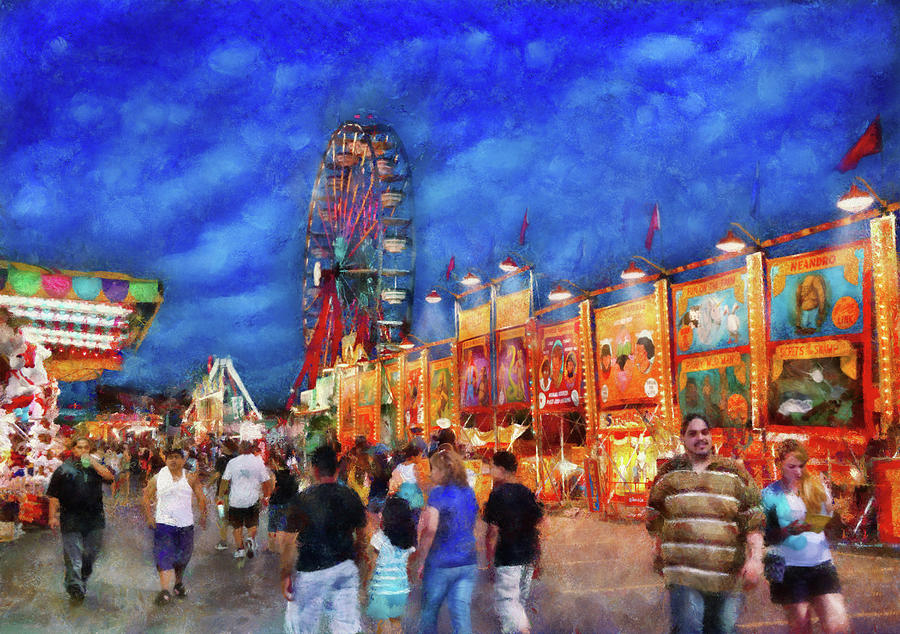 Framed Photograph - Carnival - The Carnival At Night by Mike Savad