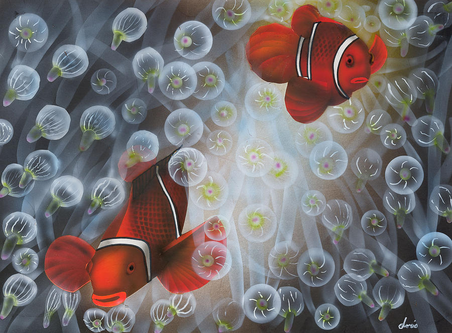 Clownfish Painting - Carnival Clowns by Doris Hodgson