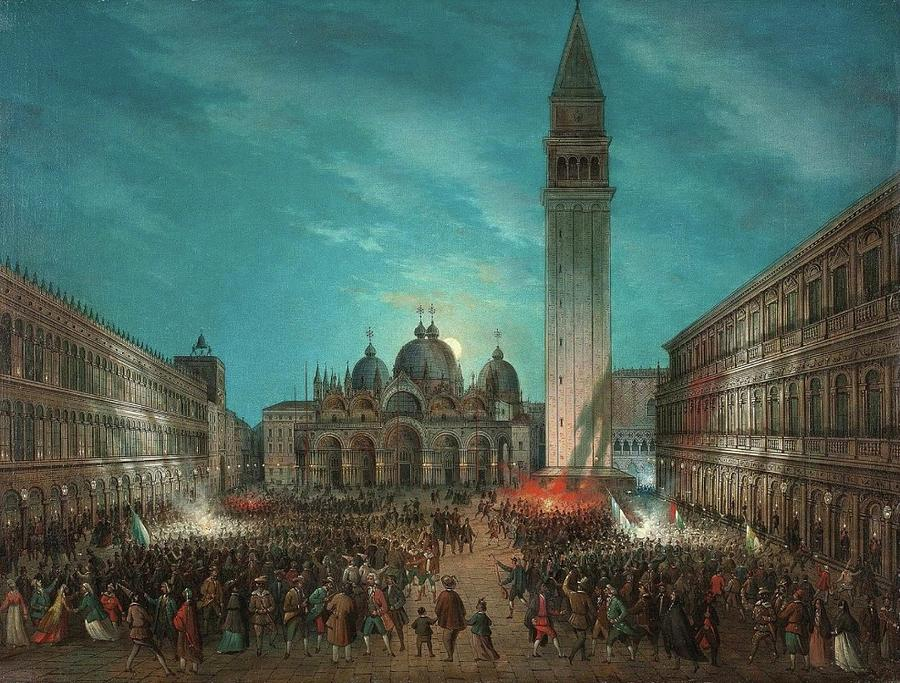 Carnival In St. Marks Square, Venice 1878 Painting