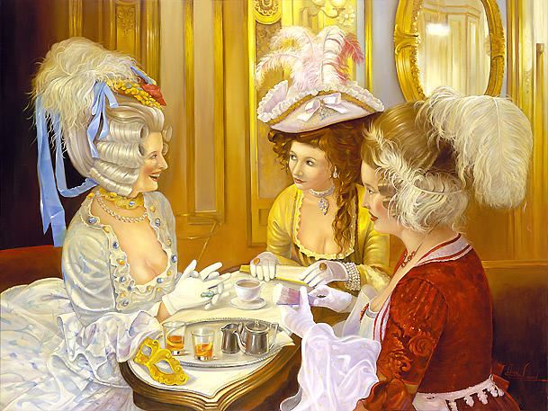 Carnival Stories In Caffe Florian Painting by Alex Levin
