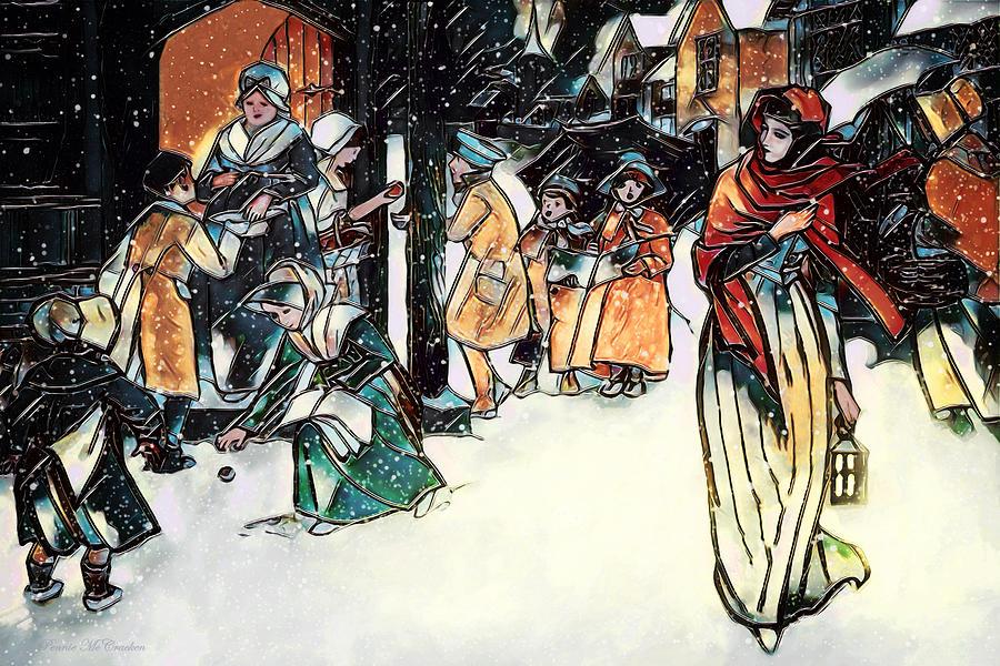Christmas Digital Art - Carol Singers by Pennie McCracken