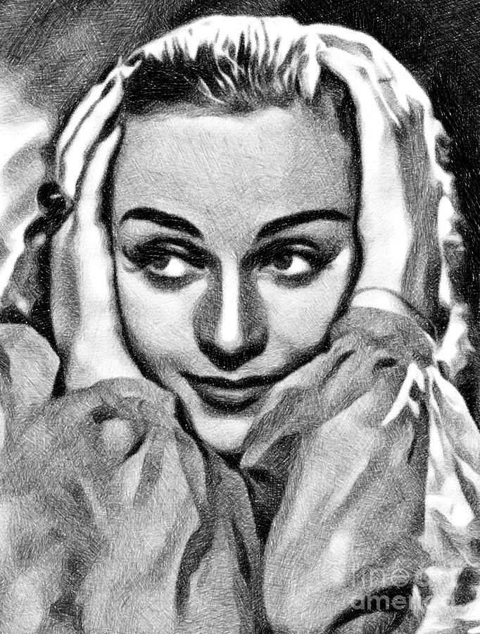 Carole Lombard, Vintage Actress By Js Drawing