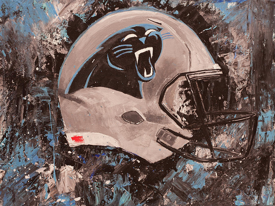 North Carolina Painting - Carolina Panthers Football Helmet Painting Wall Art by Gray Artus