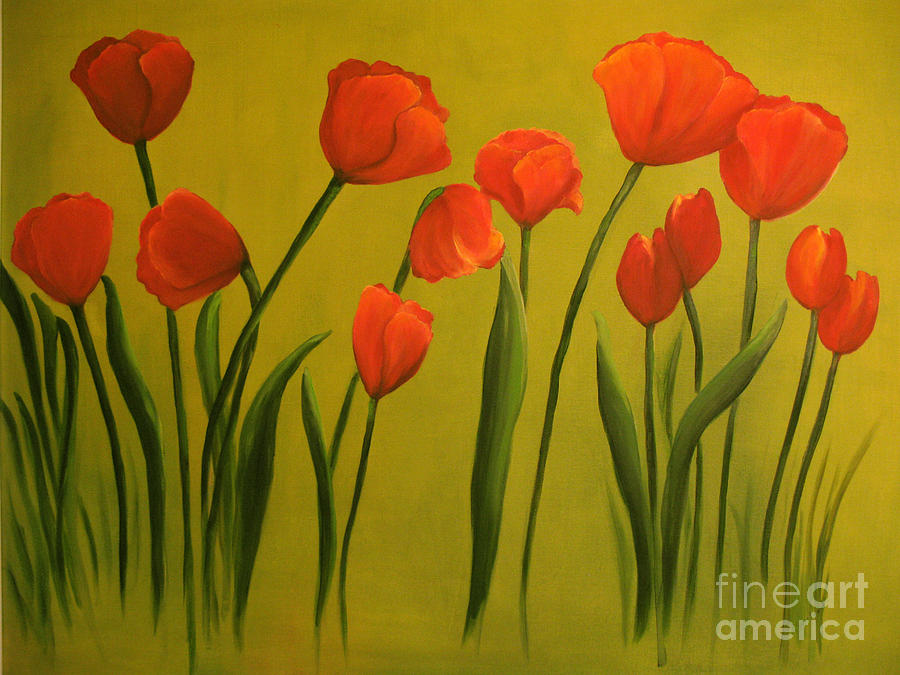 Red Painting - Carolina Tulips by Carol Sweetwood