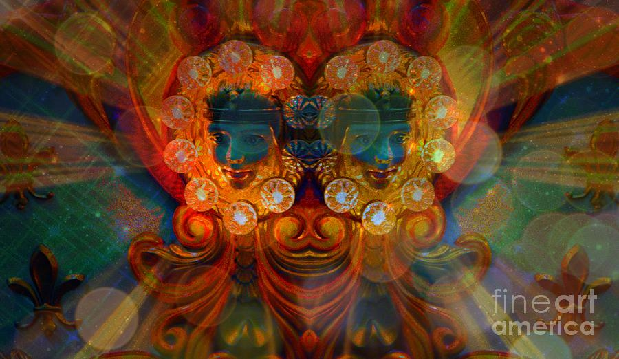 Blues Digital Art - Carousel Faces, Twins by Annie Gibbons