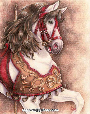 Carousel Horse Drawing by Carlos Esquivel