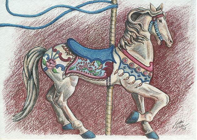 Carousel Horse Drawing Drawing - Carousel Horse by Linda Sala