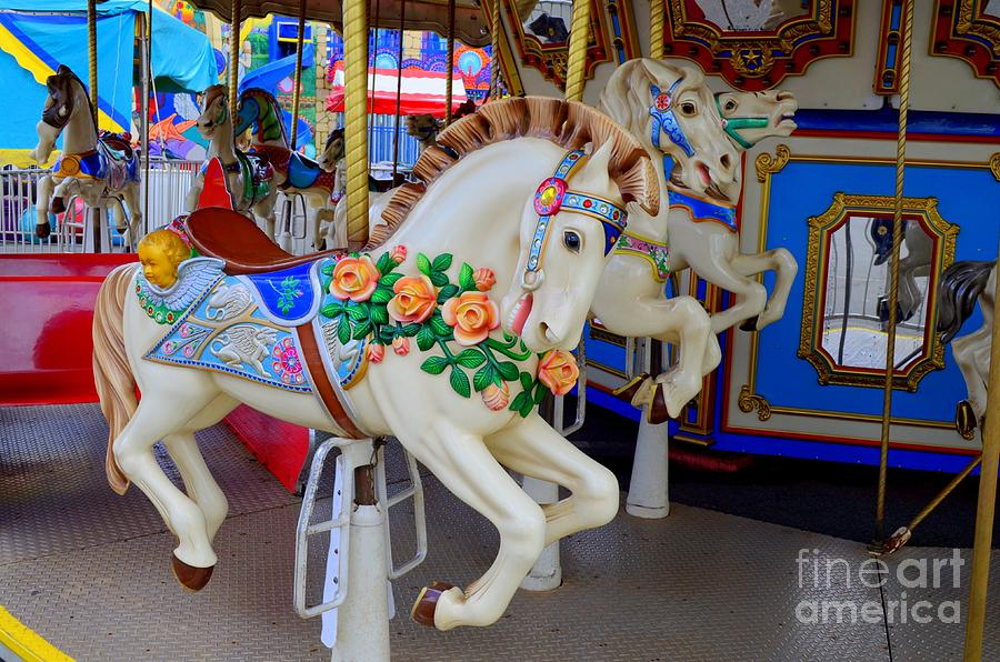 Carousel Horse With Roses Photograph