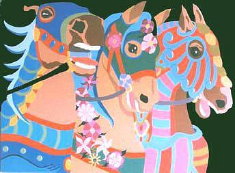 Carousel Horses Painting - Carousel Horses Number 87 by Peter Shulman