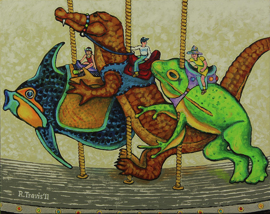 Carousel Painting - Carousel Kids 3 by Rich Travis