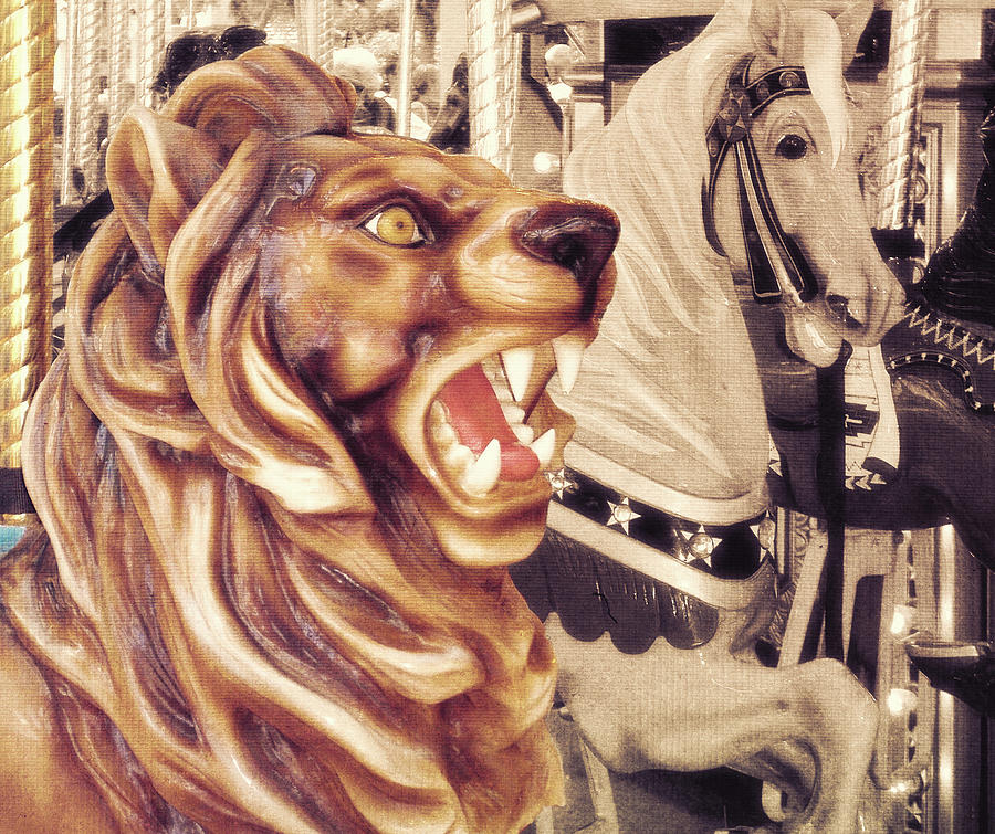 Lion Photograph - Carousel King by JAMART Photography