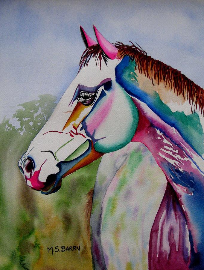 Horse Painting - Carousel by Maria Barry