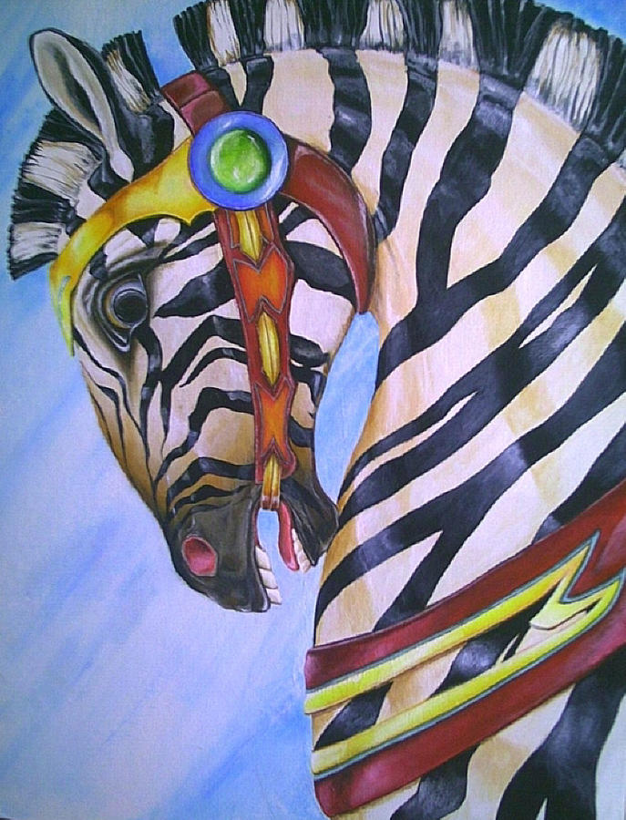 Carousel Zebra-sold Painting by Sue Lewis